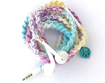 iPhone EarPods, Tangle Free Earbuds, Android Ear Buds Cables Summerfest Collection PSYCHADELIA Macrame Wrapped Earbuds Lightning Cable iPod
