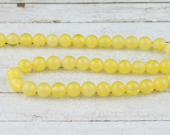 8 mm Synthetic amber beads • Honey yellow beads • Yellow amber beads • Amber beads • Round synthetic amber beads