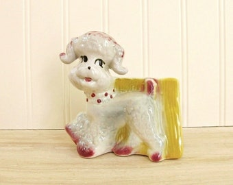 Vintage Poodle Planter Dog Planter Ceramic Fashions by OPCO Poodle Figurine Dog Pencil Holder Ohio Pottery Company