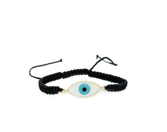 14K Gold Greek Eye Charm Bracelet. 14K Yellow Solid Gold. Mother of Pearl Greek Eye. Black Bracelet.Protection and Good Luck Charm.