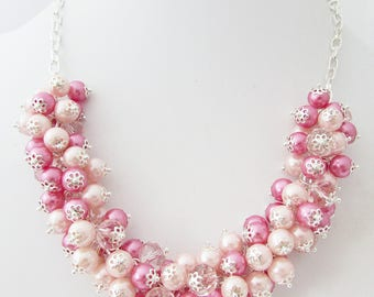 Chunky Rose Pink and Pale Pink Cluster Necklace, Pink Beaded Cluster Necklace, Pink Chunky Necklace, Pink Bridesmaid Beaded Bracelet