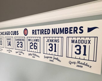 """Chicago Cubs Retired Numbers Collectible Sign Memorabilia MLB 48"""" Wrigley Field"""