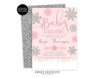 Baby It's Cold Outside Baby Shower Invitation, Printable Invitation, Girl Baby Shower, Snowflake Invitation, Winter Baby Shower, Pink Shower