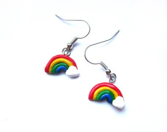 Polymer Clay Rainbow Earrings, Customised Polymer Clay Rainbow Jewellery,  Kawaii Unique Colourful Earrings