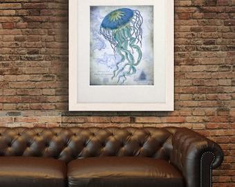 Nautical print - Jellyfish On image of Nautical Map - blue Jellyfish print blue Art Print blue bathroom print bedroom decor coastal wall art