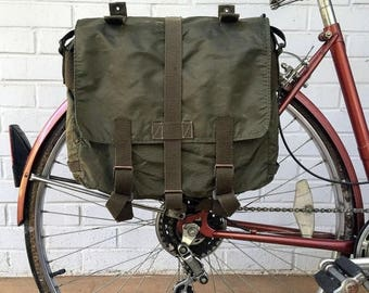 Discounted Regular Price Austrian Army Surplus Knapsack Vintage Bicycle Pannier 1980's Green