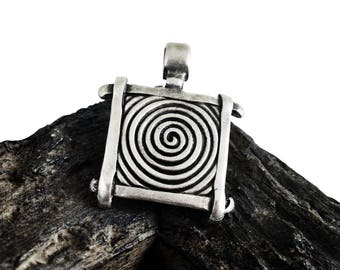 Large Spiral Pendant, Antque Silver Pendant, Swirl Ethnic Tribal Pendant, for 6mm Cord or Chain, Metal Casting