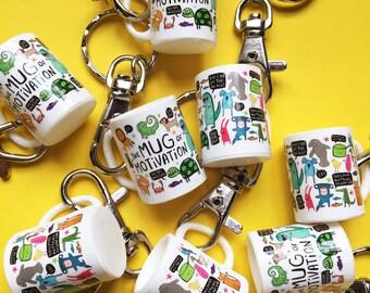 Mini Mug key ring - keyring gift - gift - mug of motivation - keychain - Katie Abey Design - PMA - positive thinking - small gift