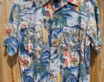 Size Large Great Condition Duke Kahanamoku Brand Shirt Great Design Collar Loop Coconut Buttons Aloha Vintage At It's Best!