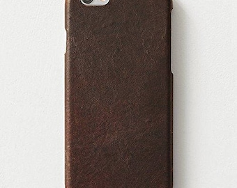 iPhone 6 / 6s Case Genuine Italian Brown Leather Hard Shell Case FREE SHIPPING