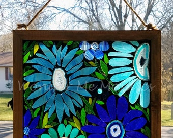 Stained Glass Mosaic - Garden of Blue Geode Flowers