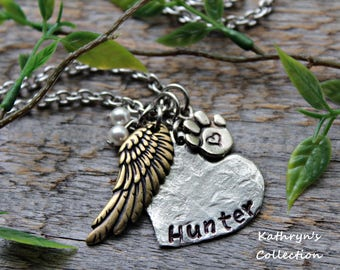 Pet Memorial Necklace, Dog Memorial Necklace, Cat Memorial Necklace, Pet Name Necklace, Forever in My Heart (Read full listing details)