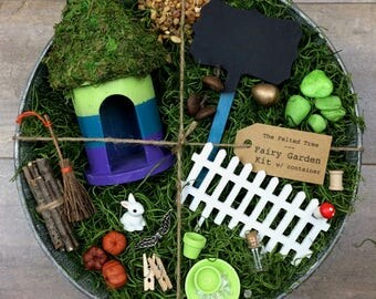Fairy garden kit with container DIY, Green Blue and purple striped galvanized outdoor container