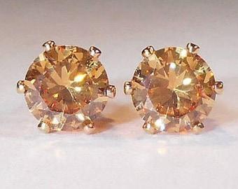 Rose Gold Morganite Earrings|6mm Morganite Rose Gold Earrings|24K Rose Gold Over Gold Setting|Morganite Rose Gold Earrings|Morganite Jewelry