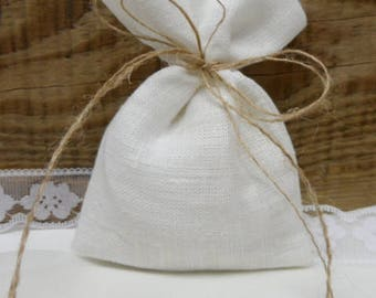 100 Linen bags. Burlap small bag. Rustic wedding favor. White burlap bags. White linen mini bags