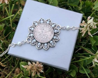 Silver plated lucky sixpence ankle chain / anklet inc. gift box (bride, wedding)