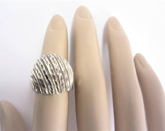 Large Vintage Diamond Cut Sterling Domed Ring Size 6