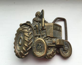 Vintage Tractor Belt Buckle Brass Farmer Midwest Farming