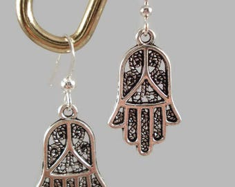 Silver Hamsa Hand Earrings Protection Good Fortune Happiness Luck Health