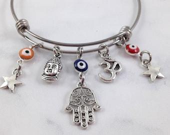 Hamsa Bracelet, Evil Eye Bracelet, Buddha Bracelet, Yoga Bracelet, Protection Bracelet, Evil Eye Jewelry