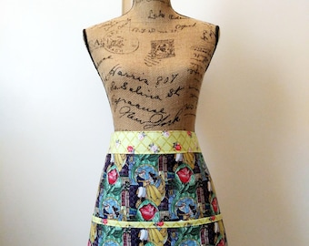 Beauty and the Beast Half Apron / Stained Glass Rose / Rose On Lime / Long