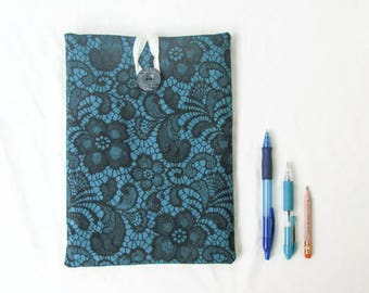 10 inch tablet case, fabric ipad cover, teal ipad case fabric tablet sleeve, IPad case, gift for teen, Samsung galaxy 10, handmade in the UK
