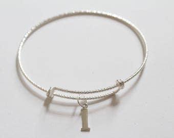 Sterling Silver Bracelet with Sterling Silver Typewriter L Letter Charm, Bracelet with Silver Letter L Pendant, Initial L Charm Bracelet, L