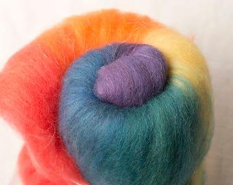 Super Fun Rainbow Batt for spinning or felting (170129)