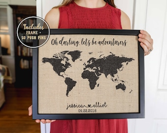 Push Pin Map, 2 Year Anniversary Gift for Boyfriend Valentine's Day Gift, World Map, Personalized Wedding Gift Travel, Rustic Home Decor