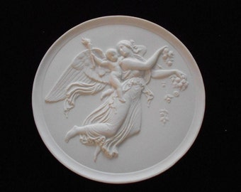 """Vintage Royal Copenhagen """" Day """" Angel White Bisque Wall Plaques"""