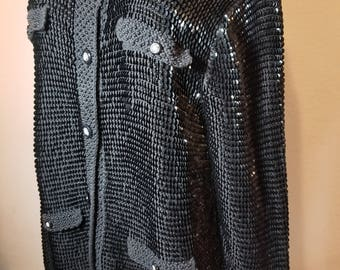 FREE  SHIPPING   Sequin Bead Knit Cardigan