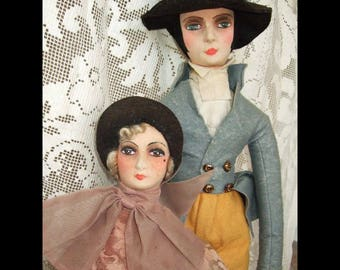 Rare and fantastic pair of English Bed or Boudoir Dolls possibly representing Beau Brummel