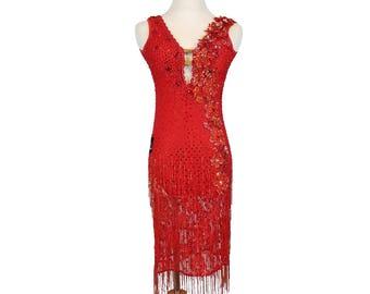 Red Rose Latin Dance Dress