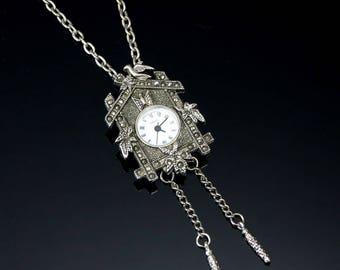 Vintage Watch Pendant Necklace Faux Cuckoo Clock Antiqued Silver Tone with Marcasites 28-Inch Chain