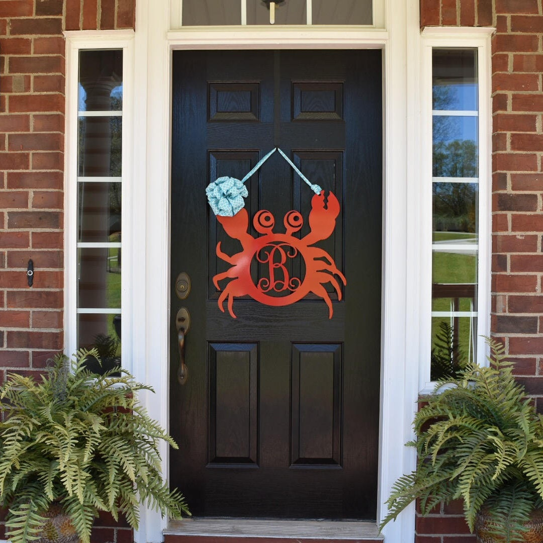 Monogram Front Door Decoration: Crab Monogram Door Hanger/ Metal Monogram Door Hanger