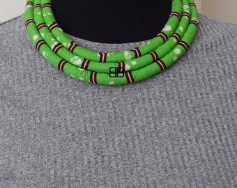 African fabric necklace, ankara necklace, afro necklace, collier africain