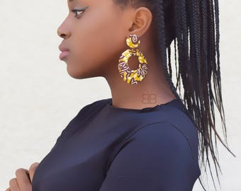 Textile hoop earrings, African fabric earrings, birthday gift, cadeau pour femme, afro earrings, boucles d'oreilles wax, tissu wax