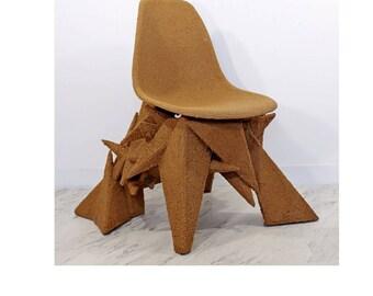 Contemporary Crushed Cork Geometric Angular Art Chair by Detroit's Jordan Bronk