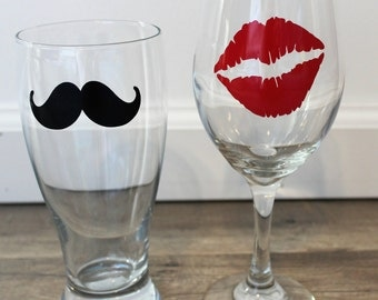 His and Hers Mustache and Lip Wine Glass and Beer Glass Set, His and Hers Set