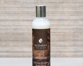 Organic Gluten Free Body Wash Shower Gel//Chocolate Decadence//Vegan, Natural, Sulfate Free// 8 oz
