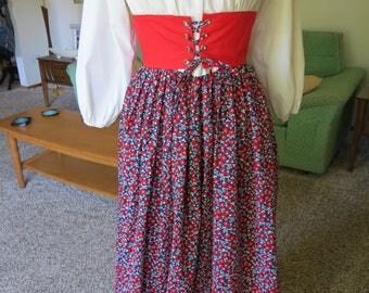 Vintage 60's 70's Godies Girl's Boho Off the Shoulder Maxi Dress - Corset Belt