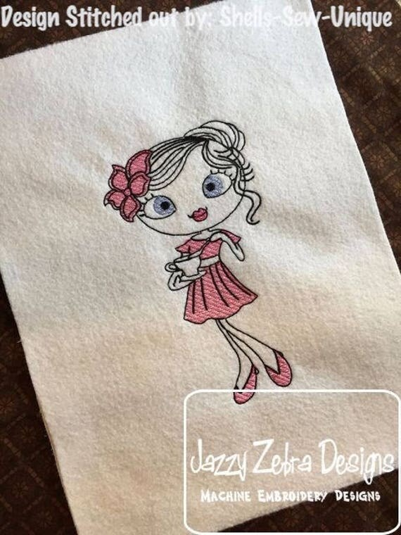 Swirly girl tea time 2 sketch embroidery design - girl embroidery design - tea embroidery design - sketch embroidery design - vintage