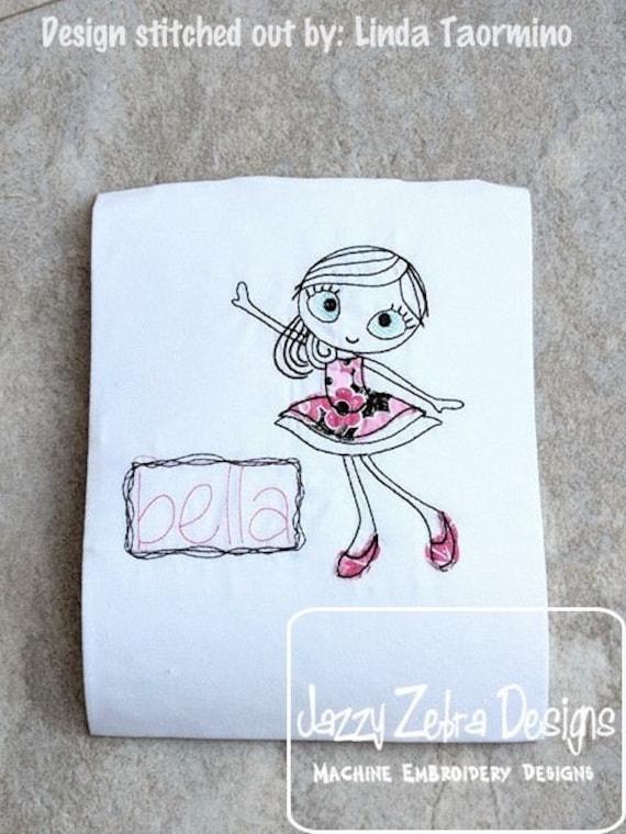 Swirly girl 1 scrappy appliqué embroidery design - girl appliqué design - scrappy appliqué design - girl embroidery design - sketch design