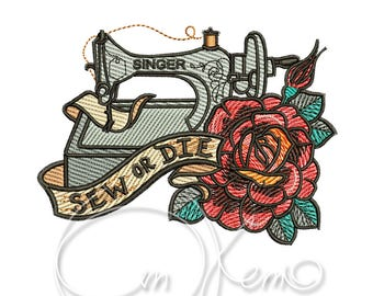 MACHINE EMBROIDERY DESIGN - Old school Sew or Die