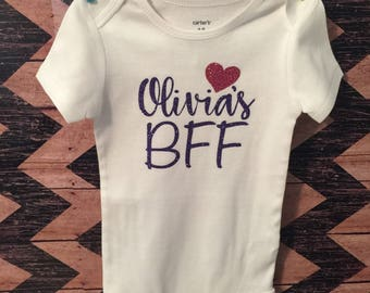 BFF baby bodysuit or toddler top. Baby's BFF! Customizable.