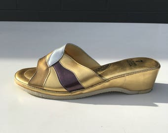Size 7 Gold Bronze Silver House Slippers 1950s inspired 1980s Slip On Wedge