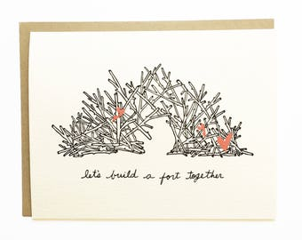 Build a Fort - Hand Illustrated Love Card