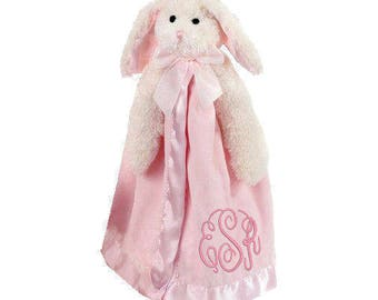 Pink Bunny Personalized Lovie Blanket for Baby