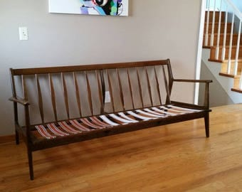 mcm walnut sofa by furniture by baumritter - Mad Men Sofa
