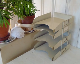 4 Metal Stack-able Filing Trays/File Sorter/Mail Sorter/Industrial Office/In Out Box/Adjustable/Heavy Weight Sturdy/lindafrenchgalley
